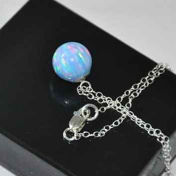 Blue Opal Necklace, 10mm Opal ball pendant, Chain Necklace, Gemstone Necklace, Sterling Silver,  Australian Opal, Opal Jewelry
