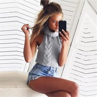 Knitted Women Backless Turtle Neck