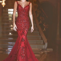 Elegant Burgundy Beading Mermaid Prom Dresses