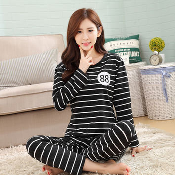 Soprt  Leisure clothes Newest 2016 spring & autumn long sleeved women pajamas silk pyjamas lovely 90S sleepwear free shipping