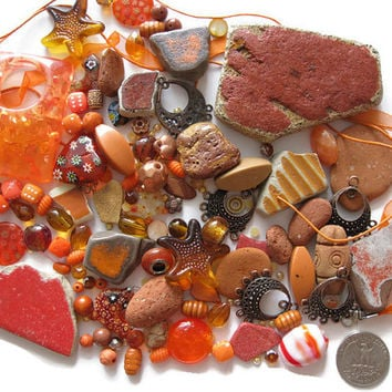 Mosaic Mix Over 180 Pc Assorted Orange Coppertone Beads Findings Beach Pottery Stone Tile Embellishments Arts Crafts Mosaics Jewelry Making