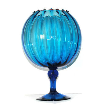 LARGE Blue Fluted Pedestal Bowl Vase Circa 1970's - (100.74)