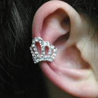 Princess Tiara Rhinestone Single Ear Cuff | LilyFair Jewelry