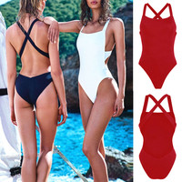 Sexy One Piece Swimsuit with Open Criss Cross Back 3 Colors