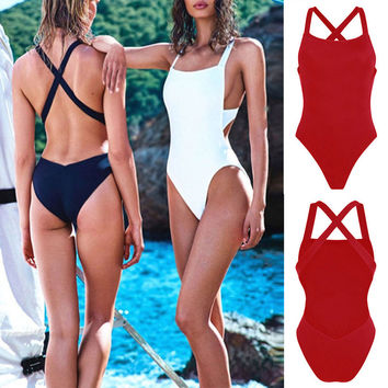 One Piece Bikini Monokini 2017 Sexy Bikinis Swimwear Women Padded Swimsuits Bikini Top Neck Bathing Suits Solid Back Cross