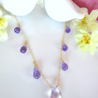 Pink amethyst and purple amethyst gold drop necklace