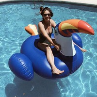 200cm Giant Inflatable Toucan Pool Float 2018 New Blue Ride-On Pelican Inflatable Swimming Ring Water Mattress Summer Water Toys