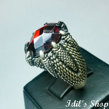 Authentic Turkish Ottoman Style Handmade 925 Sterling Silver Ring For Men With Garnet Stone.