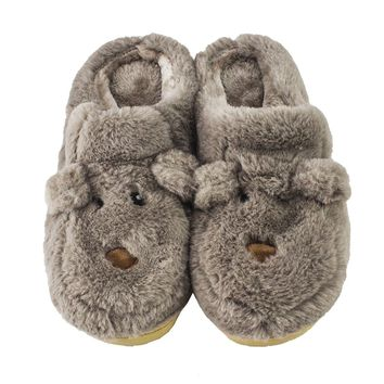 Animal Slippers with Indoor Outdoor Soles - Cuddly Bear