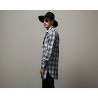 """Mens Overlong Flannel Plaid Shirt In Blue 36"""" at Fabrixquare"""