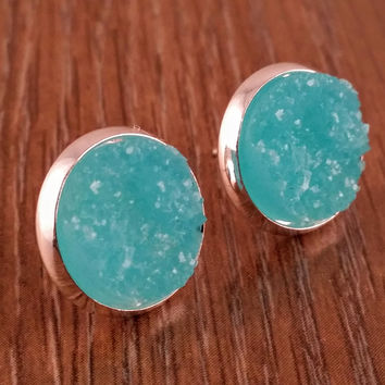 Druzy earrings- Sky blue silver tone stud druzy earrings