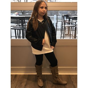 Girls Faux Leather Moto Jacket