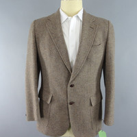 Vintage 1970s Blazer / 70s Jacket / 1960s Sports Coat / Tan Herringbone Tweed / Cricketeer Stix Baer & Fuller / Mid Century Mad Men