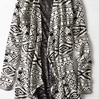 AEO Women's Feather Light Patterned Cardigan (Black)