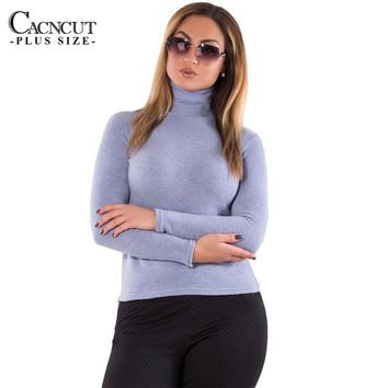New 6XL Plus Size Women T-shirt Long Sleeve Top Cotton Winter Warm Sweaters Blue Turtleneck Tops 2018 Spring Big Size Clothing