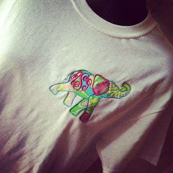 Elephant appliqué with Lilly Pulitzer Fabric and by watsonboys