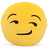 Leegoal Emoji Smiley Emoticon Yellow Round Cushion Pillow Stuffed Plush Toy Doll (Yellow and Black)