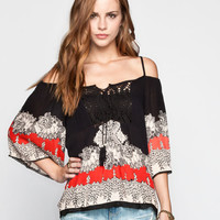 Angie Boho Print Womens Cold Shoulder Top Black/Red  In Sizes
