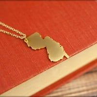 New Jersey Map Necklace, Available in Silver or Gold - New Jersey Silhouette Land Map