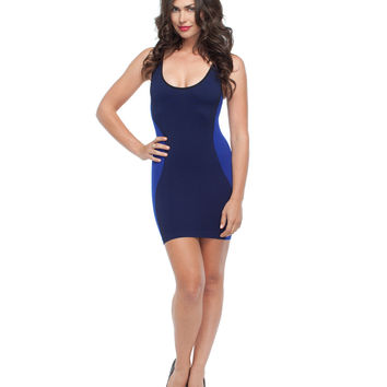 Contour Hourglass Dress: Black/Royal Blue