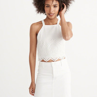 Womens Eyelet Cropped Top | Womens Tops | Abercrombie.com