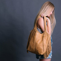 Camel Leather Bag - Soft Leather Bag - Light Brown Tote Bag- FRINGE BAG