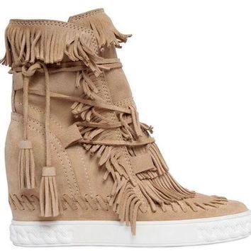 Candy Color Fringe Suede Height Increasing Wedge Ankle Round Toe Boots