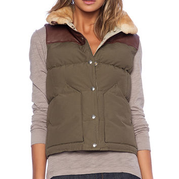 Penfield Rockwool Shearling Collar Down Vest in Olive