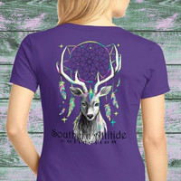 Southern Attitude Preppy Feather Deer Dream T-Shirt