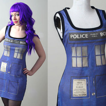 DOCTOR WHO Tardis police box tank dress - handmade to order - smarmyclothes cosplay costume