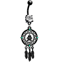 Crystalline Gem Black Skull Dreamcatcher Belly Ring | Body Candy Body Jewelry
