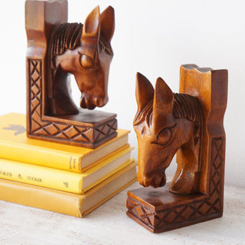 Vintage Wood Horse Bookends, Mid Century Carved Wood Horse Head Equestrian Bookends