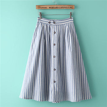 Fashion School Skirt Striped Long Skirt With Button Women Cotton Linen Skirts Vintage Casual Women Pleated Maxi Skirts #G106