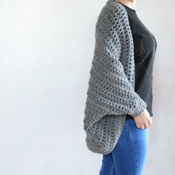 Grey oversized cocoon cardigan | cocoon kimono | loose batwing sweater | plus size shawl cardigan | dolman loose sweater | cocoon shrug
