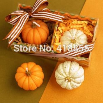 Silica gel 3d silicone mold fondant Halloween Candle mold pumpkin shape for cake decorations aroma stone moulds