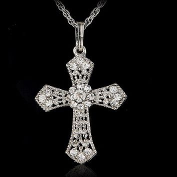 "Elegant ""Crystal Gemstones"" Cross Necklace"