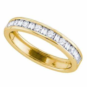 14kt Yellow Gold Women's Round Baguette Diamond Single Row Wedding Band 1-2 Cttw - FREE Shipping (US/CAN)