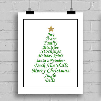 Christmas Tree Typography Word Art Wall Art Print, Christmas Decoration, PDF/JPG, (8x10 Inches)