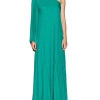 Halston Heritage Women's One Shoulder Pleated Evening Gown - Green -