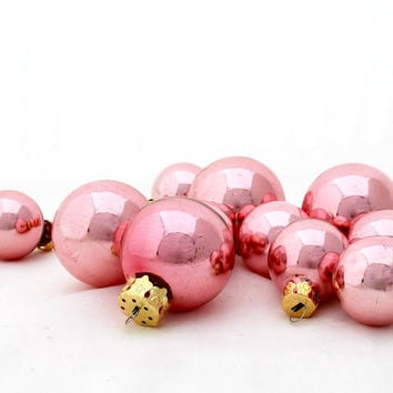 Vintage 36 Glass Christmas Tree Ball Ornaments Lillian VernonTwo Sizes Pink Mauve 1980s Holiday Home Decor