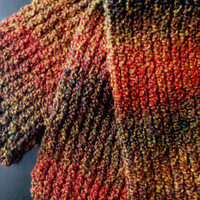 Super Soft Hand Knit Scarf in Multi Autumn Colors