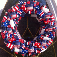 Patriotic Wreath in Red White and Blue