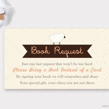 Sheep Baby Shower Book Request, Lamb Printable Baby Shower Request Book Card, Sheep Bring a Book Instead of a Card Insert DIY
