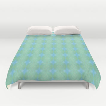 Blue And Green Woven Print Duvet Cover by KCavender Designs