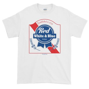 Red White & Blue PBR 4th Of July - Unisex Short-Sleeve T-Shirt - Various Colors