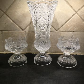American Cut Glass Vase and Candle Holders, 2 Holders