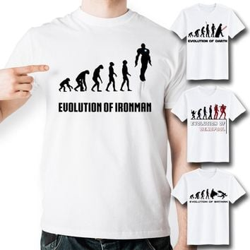 Evolution Of Iron Man T-Shirts - Men's Crew Neck Novelty Top Tee