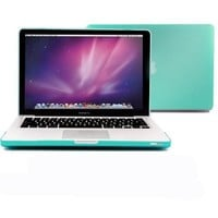 "Macbook Pro 13 Case, GMYLE - 2 in 1 - Turquoise Blue Frosted Matte Rubber Coated Rubberized Hard Case Cover for Apple 13.3"" inches Macbook Pro - With Silicone Turquoise Blue Keyboard Cover (not fit for 13 Macbook Pro with Retina display)"