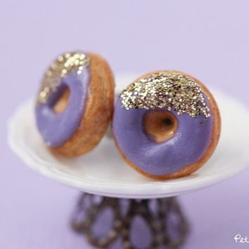 Donut Studs - Purple and Gold Polymer Clay Earrings