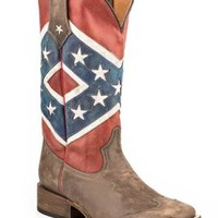 Men's Cowboy BootsRoper Rebel Flag Brown Toe Cap Square Toe Americana Collection